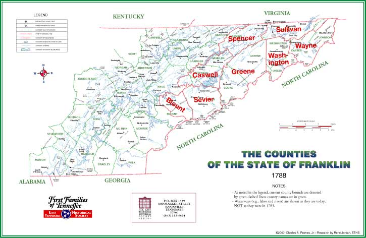 Tennessee:  Map: The Counties of the State of Franklin 1788