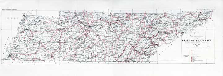 Tennessee Archaeological Map 1923