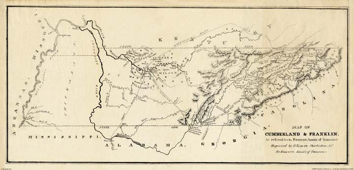 Tennessee:  Map: Cumberland and Franklin from Ramsey in the 1780s