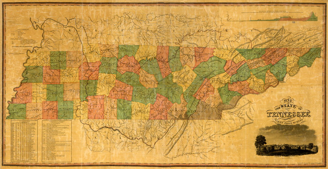 Matthew Rhea's Map of Tennessee 1832