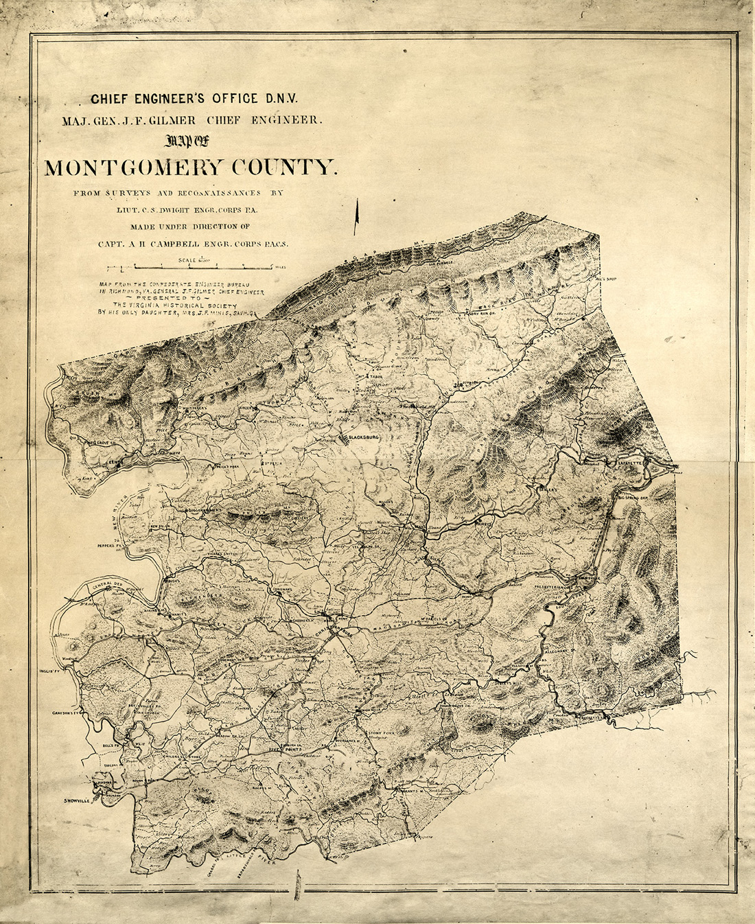 Montgomery County, VA 1860s - Confederate Map