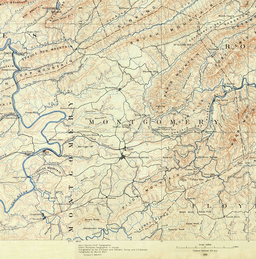 Montgomery County, Virginia Map 1890s