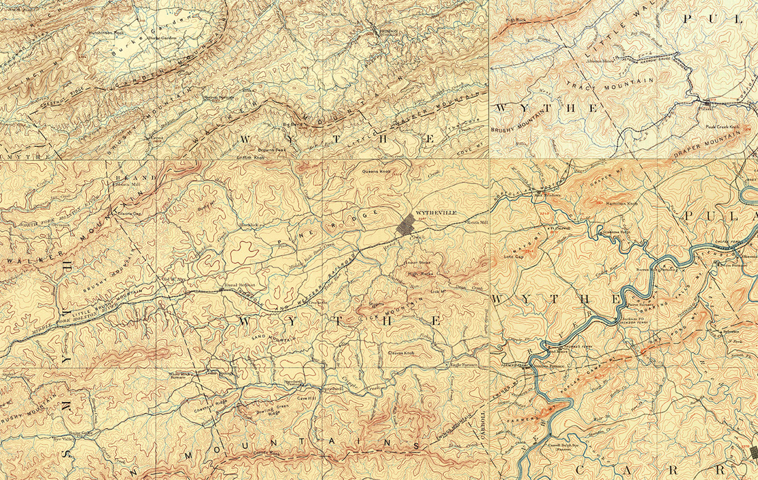 Wythe County, Virginia Map 1890s