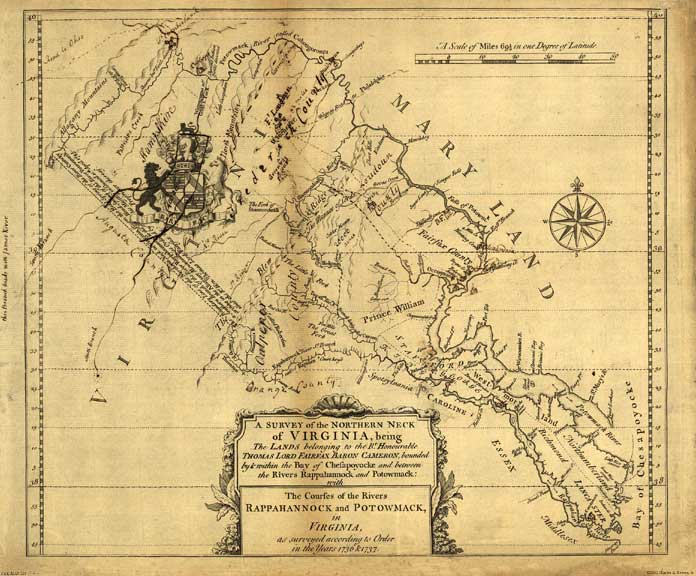 Lands of Lord Fairfax 1747