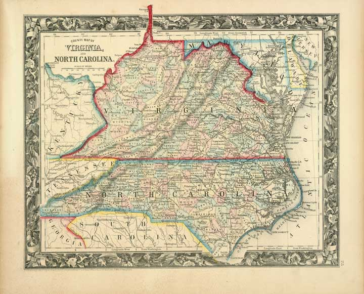 Virginia, West Virginia, North Carolina 1860